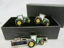 John Deere Green Tractor Cufflinks & Tie Clip Set GIFT Boxed Farming Enamel