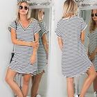 Women Summer Casual Dress V Neck Short Sleeve Striped Loose T-Shirt Mini Dress
