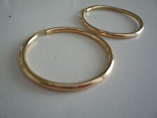 new 9ct 9kt earrings sleepers loop plain highly polished 4cm diameter ,3mm thick
