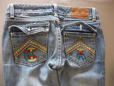 Jens Pantalon Jeans Taille 26 Christian Audigier, broderie, magnifique
