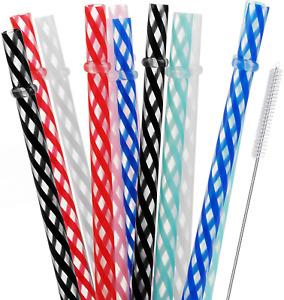"ALINK 10.5"" Long Reusable Hard Plastic Straws, Tumblers Drinking Straws for 32"