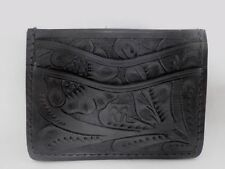 RRL Ralph Lauren Hand Tooled Carved Black Leather Credit Card Wallet Holder Case