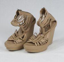 Ann Demeulemeester Tan Beige Wedge Platform Sandals Shoes Size 37.5