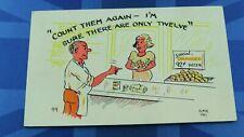 Saucy Comic Postcard 1950's Boobs Oranges 42 Cents A Dozen