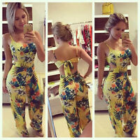 Womens Plus Size Clubwear Floral Playsuit Bodycon Partysuit Romper Trousers