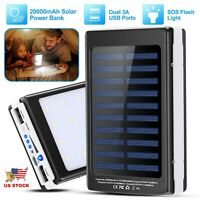 Portable 20000mAh Solar Power Bank Dual USB Ports Outdoor LED Battery Charger