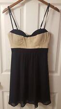 ASOS WOMENS DRESS SIZE 6 BLACK & BEIGE COTTON BLEND ZIPPER BACK