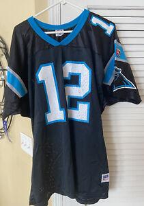 VTG Carolina Panthers Kerry Collins NFL jersey 12 Wilson Nylon MADE USA NWT RARE