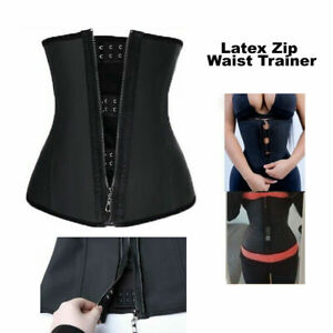 Latex Zip Waist Trainer Body Shaper Corset Tummy Cincher Training Slim Sports
