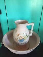 Vintage Enamelware Enamel Pitcher And Bowl Basin Floral Painted Bamboo