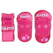 New Razor Pink YOUTH Sweet Pea Multi-Sport Elbow Knee Pads Wrist Guard Set NIP