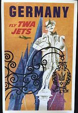 FLY TWA JETS-Germany by David Klein original vintage travel poster 1959