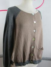 Anthropologie Lilis Closet Cardigan Small Cotton Blend Light Brown Dark Gray NWT