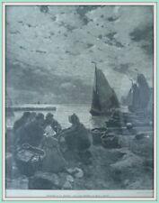 """IJsselmeer """"Mondnacht an der Zuidersee"""" Original Holzstich erschienen 1898"""