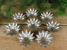 Lot of 8 Matching Vtg German Heavy Punched Tin Christmas Light Reflectors Star