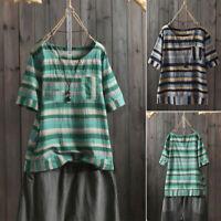 ZANZEA Women O-Neck Short Sleeve Striped Tops Blouse Summer Casual T-Shirt Tee