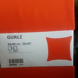 2 IKEA GURLI Bright Orange Cushion Covers 50cm x 50cm NEW