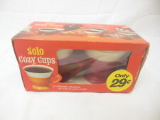 1L Retro Solo Cozy Cups Cofee Cups Plastic Holders Paper Cups 1970's Sealed!