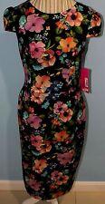 Betsey Johnson Wear to Work Cap Sleeve Floral Print Sheath Dress Size 6