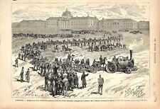 Locomotive Routière Convoi Artillerie Canons Ecole Militaire Paris GRAVURE 1876