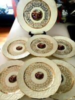 7 pc Vintage Adam Antiques Steubenville China 22 Karat Gold Plates 8.5'' NICE!