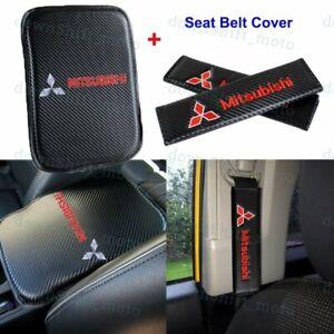 Carbon Fiber Car Center Armrest Cushion Mat Pad + Seat Belt Cover For MITSUBISHI