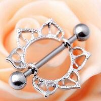 1pc/2pcs Steel Floral Flowers Circle Piercing Nipple Shield Ring 14G Bar K0
