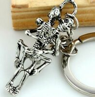 Forever Love Punk Skeleton Skull Key Chain Ring Keychain Keyring Gift♫