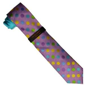 Hi-Density By Steven Land Collection Turquoise / Lilac / Multi Color Necktie