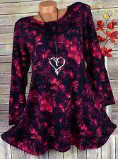 Leins Tunika Bluse Shirt Lagenlook Top A-Form Longshirt Schwarz Pink  XL 42 44