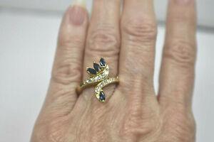 14K Yellow Gold Diamond & Blue Sapphire Custom Bypass Cocktail Ring