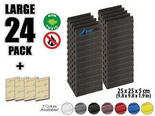 """Arrowzoom 24pcs Acoustic Wedge Foam Tile Sound Absorption Panel 9.8*9.8*1.9"""""""