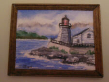 Dollhouse 1:12 scale lighthouse by shore watercolor by  Artist  Sandra Gifford