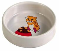 Ceramic Food Bowl for Mice Gerbils Hamsters White Bowl with Hamster Motif 90ml