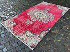 Vintage rug, Turkish, Handmade rug, Area rug, Wool rug, Bohemian   4,4 x 7,8 ft