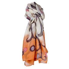 Ladies Large Orange & Cream & Blue Circle Design Scarf/WrapPashmina/Shawl/Hijab