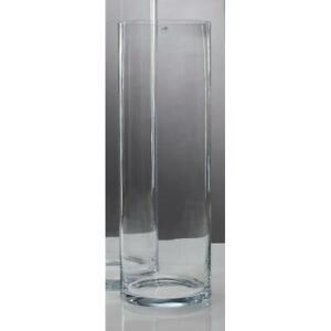 XXL Grand Vase Cylindrique en Verre Décoratif H.90cm D.25cm Rond SANDRA RICH