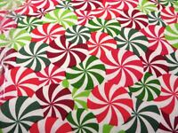 FAT QUARTER RED & GREEN CANDY SWIRLS 100% COTTON QUILTING/CRAFT FABRIC