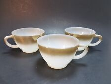 3 Cups Mugs Federal Glass Mesa White Milk Glass Ombre Brown Bronze Vintage