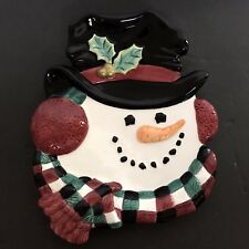 Fitz and Floyd Christmas Snowman Top Hat Canape Plate Holiday Serving or Decor