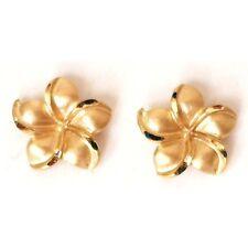 14K Solid Yellow Gold Hawaiian Plumeria Earring 3/8 inches (9 mm)  E2507-62