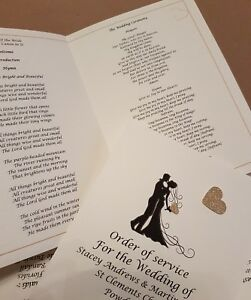 25 Personalised handmade A5 Wedding Order Of Service Cards many heart colours