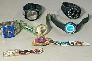 6X UNISEX SWATCH VARIOUS DESIGN  SWISS QUARTZ WATCHES RUNNING