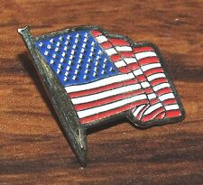 """Flag Gold Toned Pin-Back / Brooch *Read* 1"""" Inch Small Red White & Blue American"""