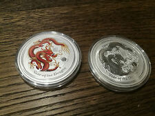 Australia Lunar Series II silver coin dragon 2 oz coloured + 2 oz BU set 2012