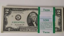 25 new  Uncirculated Two Dollar Bill, Crisp $2 Note, Consecutive Serial Number