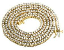 """10K Yellow Gold Prong 1 Row Real Diamond Men's Tennis Chain Necklace 14.75Ct 26"""""""