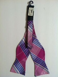 NWT TOMMY HILFIGER MENS NEW PINK 100%SILK CLASSIC PLAID BOW TIE