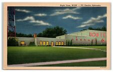 Mid-1900s WOW TV Channel 6 Office at Night, Omaha, NE Postcard