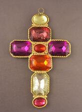 Huge Vintage YOSCA  Large Multi Color Rhinestone Cross Pendant
